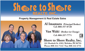 Ad for Shore to Shore Realty on Maui