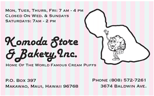 Ad for Komoda Store and Bakery Inc. on Maui