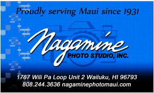 Ad for Nagamine Photo Studio, in Wailuku Maui