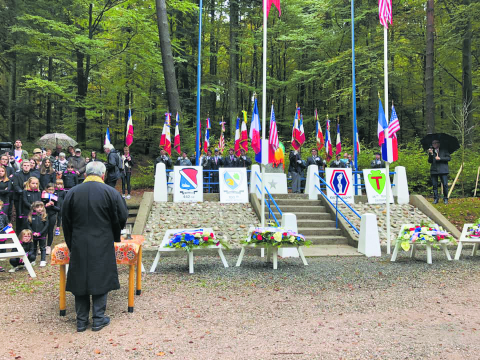 The Rev. Jay Shinseki from the Monterey Peninsula Buddhist Temple conducted a memorial service in the Helledraye Forest, where some of the fiercest fighting in the Vosges Mountains took place in the fall of 1944.