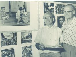 Photographer Francis Haar (left) and UH sociologist Andrew Lind at a 1963 exhibition of Haar's photographs at the University of Hawai'i. (Courtesy Francis Haar Collection, University of Hawai'i at Mānoa Library)
