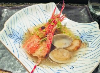 Misoyaki butterfish with clams and shrimp.