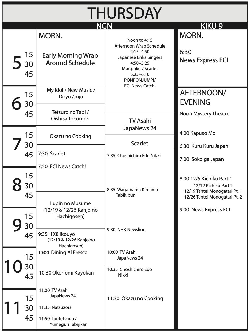 TV Program Schedule 11/15/19 Issue - Thursday