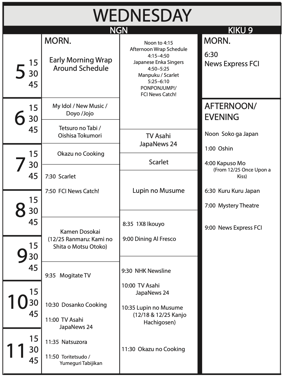 TV Program Schedule 11/15/19 Issue - Wednesday