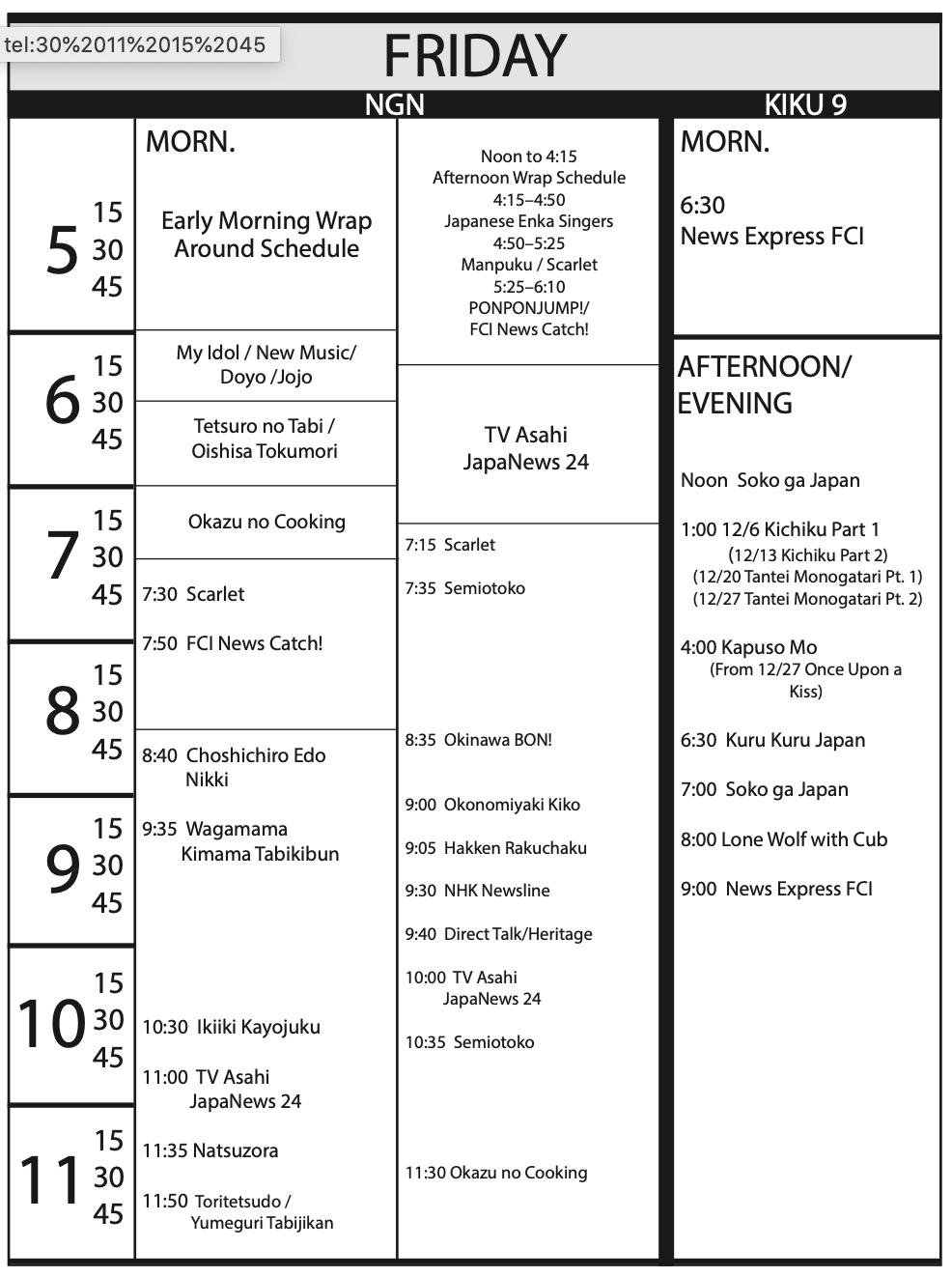 TV Program Schedule 11/15/19 Issue - Friday