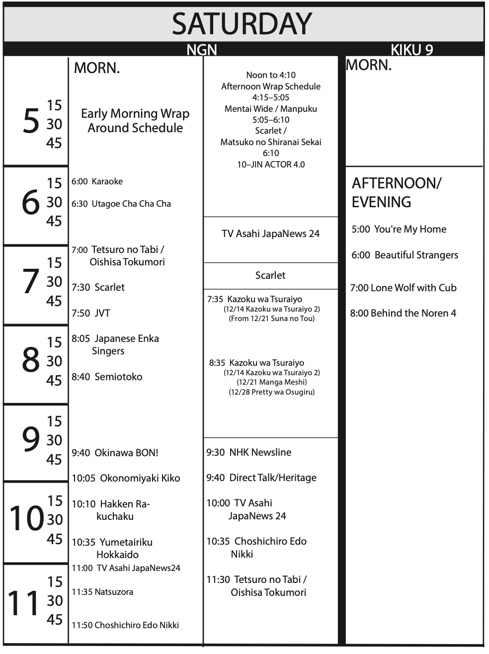 TV Program Schedule 11/15/19 Issue - Saturday