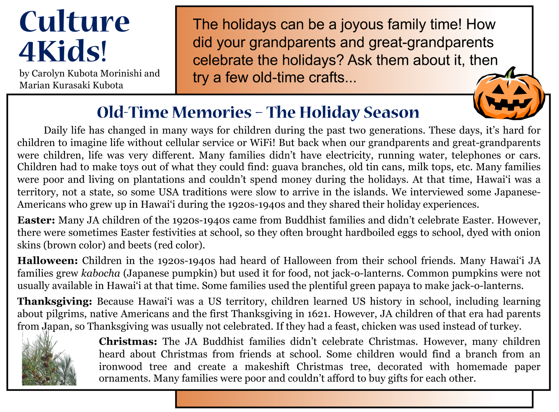 Culture4Kids! Old Time Memories - The Holiday Season