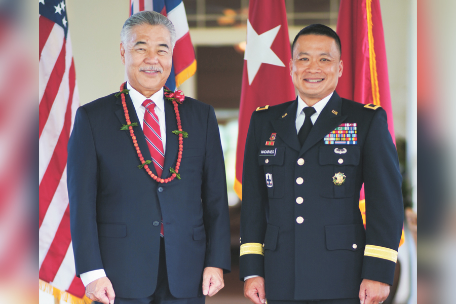 Brig. Gen. Roy Macaraeg. (Courtesy Hawai'i Department of Defense), along side Governor, David Ige