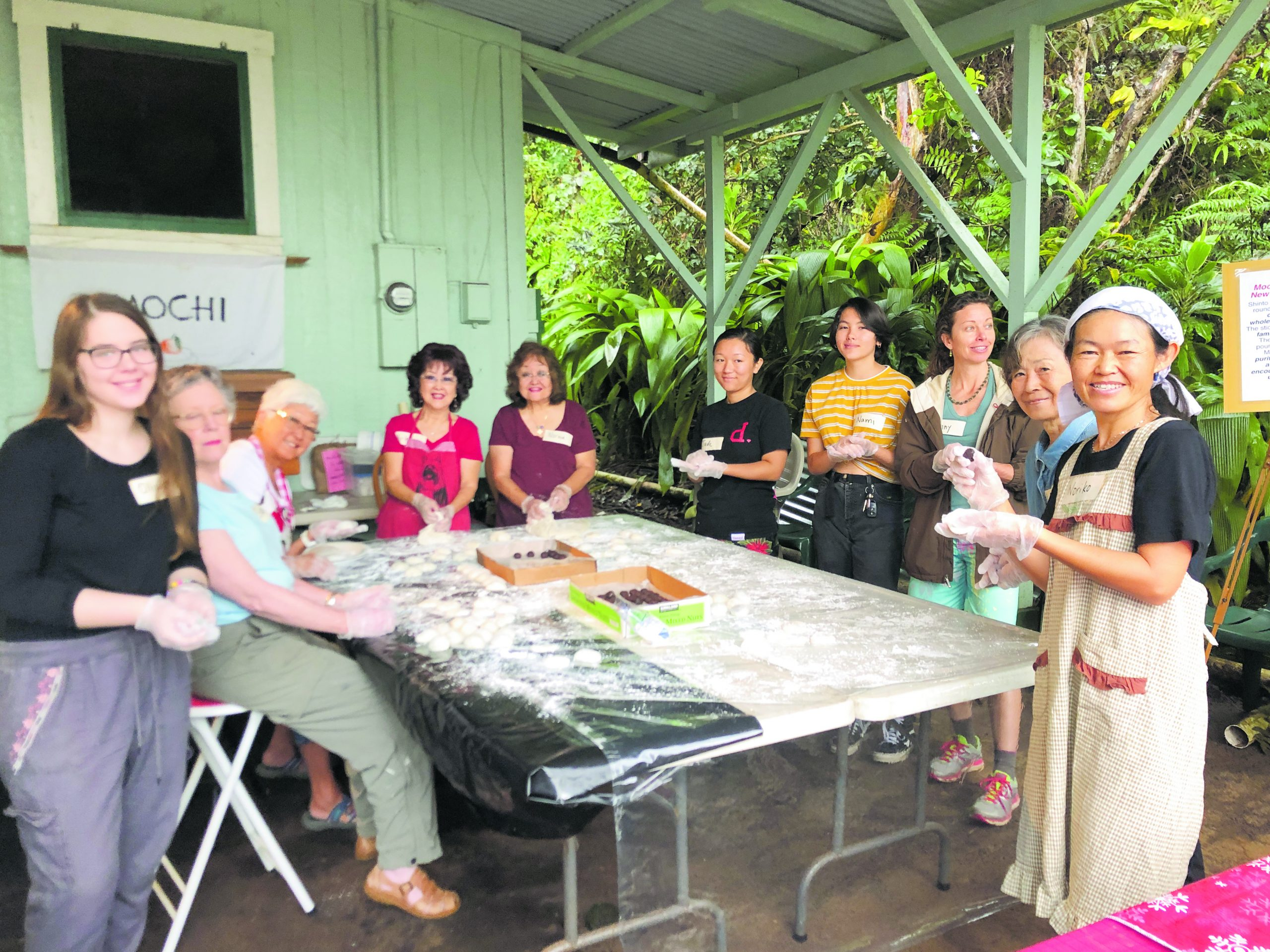 The mochi-shaping crew takes a break to pose for a group shot. (Photo courtesy Akiko's B&B)