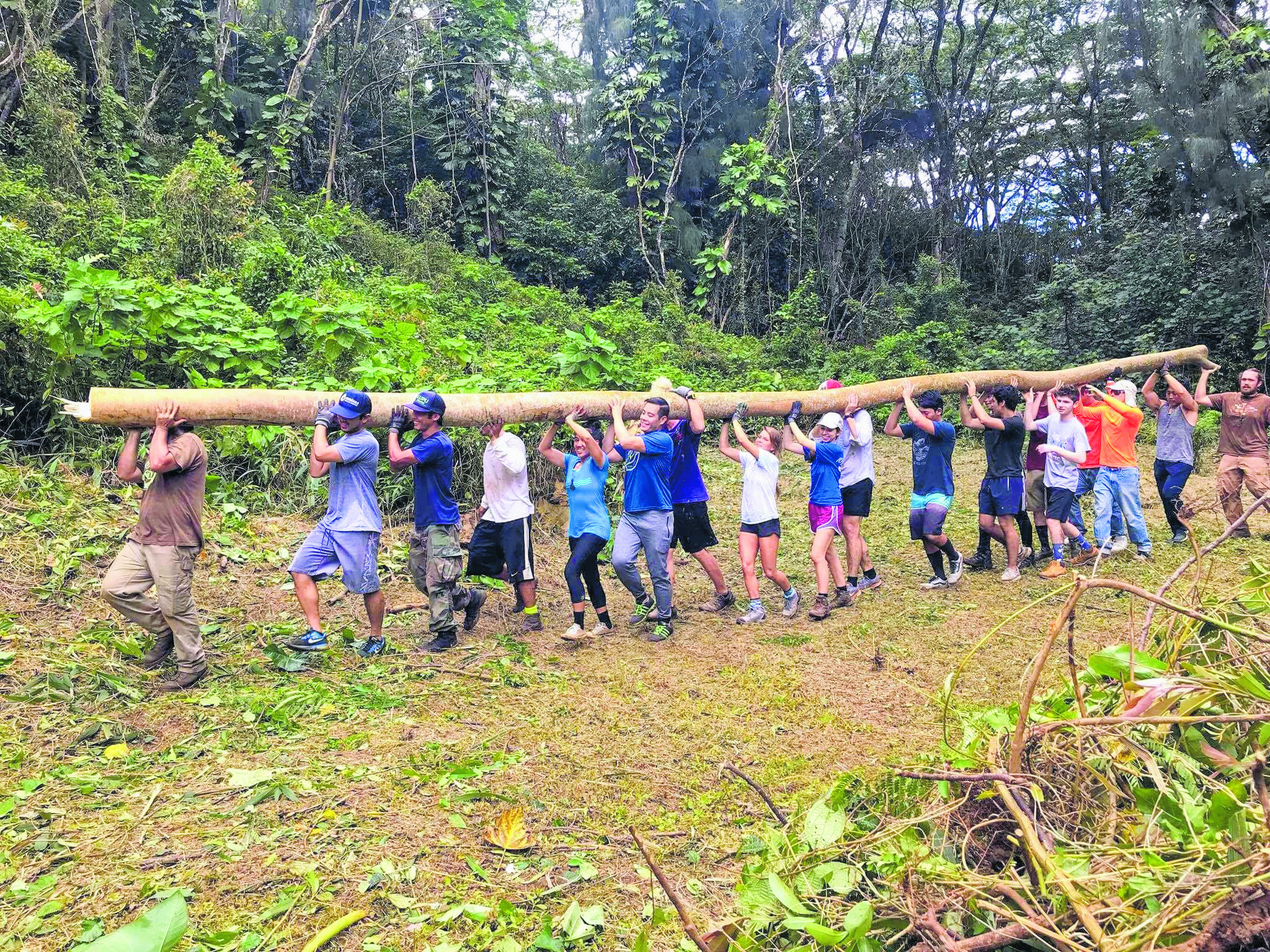HIHO volunteers work on a group project for Kokua Kalihi Valley, moving a tree log in Kalihi Valley. (Photos courtesy HIHO)