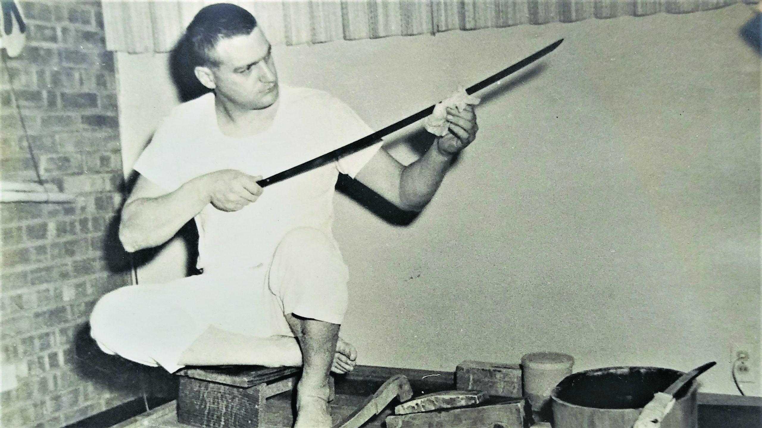 Robert Benson, then 31, working on a blade in 1968 in Albuquerque, New Mexico. (Photo courtesy Robert Benson)