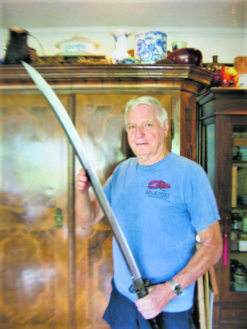 Robert Benson with a naginata, the type of blade he entered in the 1967 Nihon Bijutsu Token Hozon Kyokai competition.