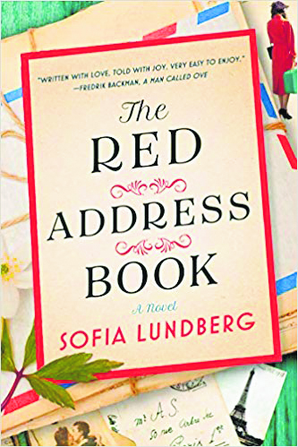 Book cover titled 'The Red Address Book' by Sofia Lundberg