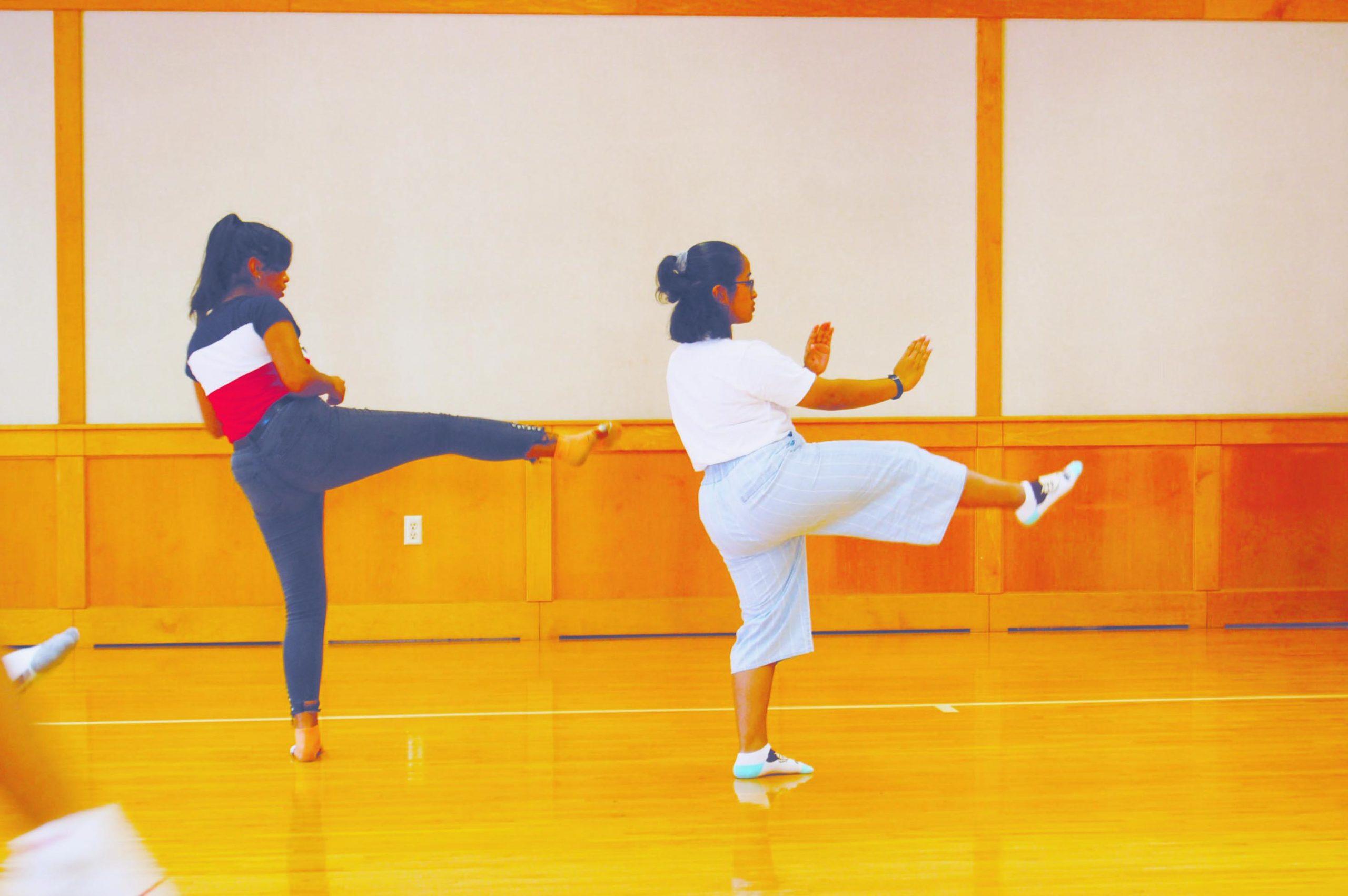 """Oss!"" Sharlene Bright (left) and Leilah Eusebio from Washington Middle School practiced karate kicks that were taught to them by Jordan Silva-Sensei of the Japan International Karate Center."