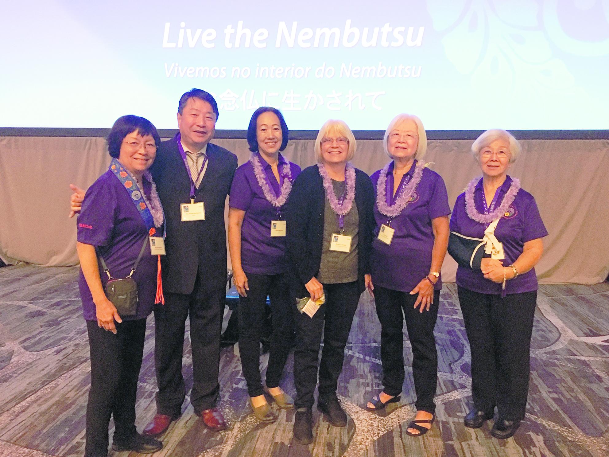 The 2019 World Buddhist Women's Association convention delegation from Hilo (from left): Barbara Fujimoto, Rimban Shindo Nishiyama, Suzy Nishiyama, BJ Soriano, Theo Kushi and Hilo BWA president Carole Tsutsumi. Not pictured: Ellen Okano. (Photo courtesy Jan Higashi)
