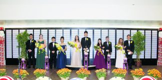 The 2019 Chrysanthemum Festival Court and their escorts (from left): Princess Alexis Camara and Shayden Aoyagi, Princess Kokoro Yamazaki and Cael Yasutake, Queen Emma Mika Endo and Matthew Kaimiola, Princess Cassidy Hanano and Isaiah Gomes, and Princess Lauren Mitra and Kenneth Fiori. (Photo by Nagamine Photo Studio)