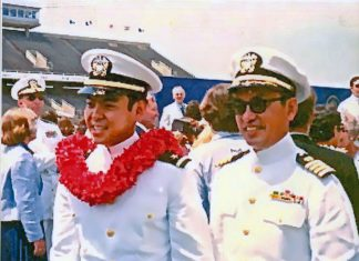 The Yoshiharas' second son, David, followed his father to Annapolis and, like his father, rose to the rank of captain. Father and son are pictured here on David's graduation day in 1978.