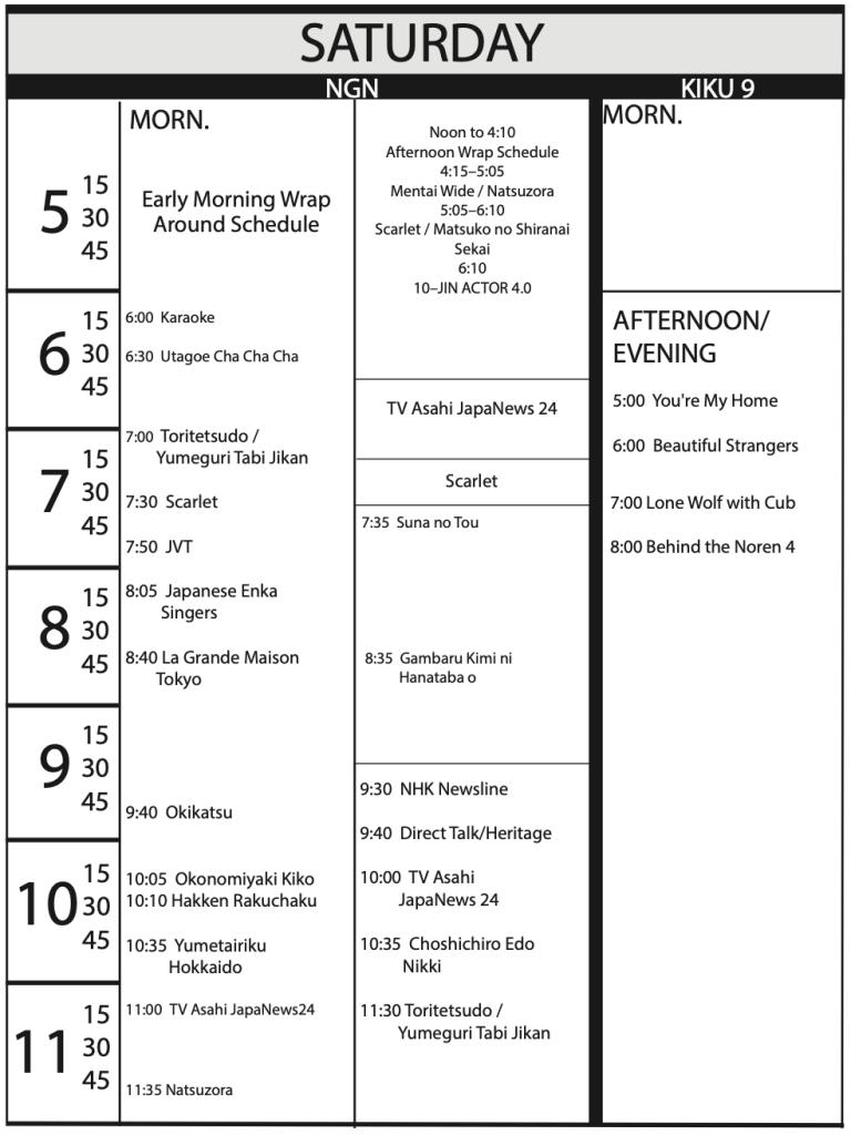 TV Program Schedule 1/17/2020 Issue - Saturday