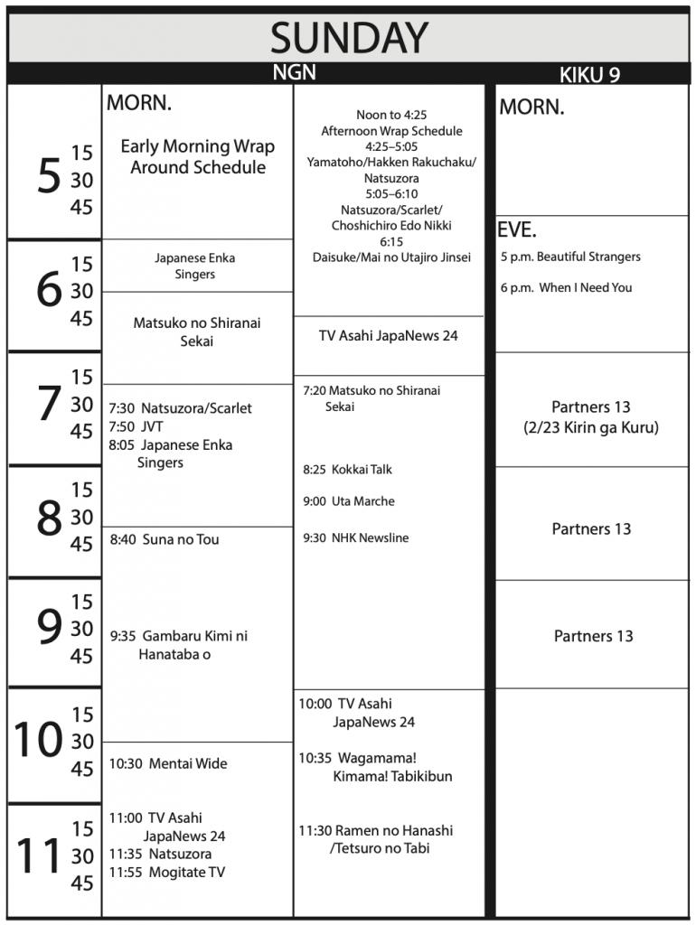 TV Program Schedule 1/17/2020 Issue - Sunday