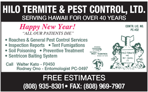 Ad for Hilo Termite and Pest Control, Ltd. 'Happy New Year!'