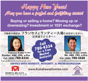 Ad for Horita Realty 'Happy New Year! May you have a joyful and fulfilling 2020!'