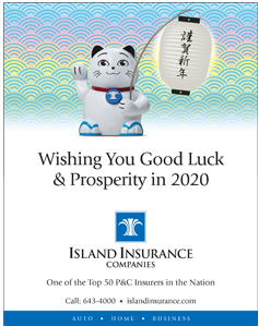 Ad for Island Insurance Company 'Wishing you good luck and prosperity in 2020'