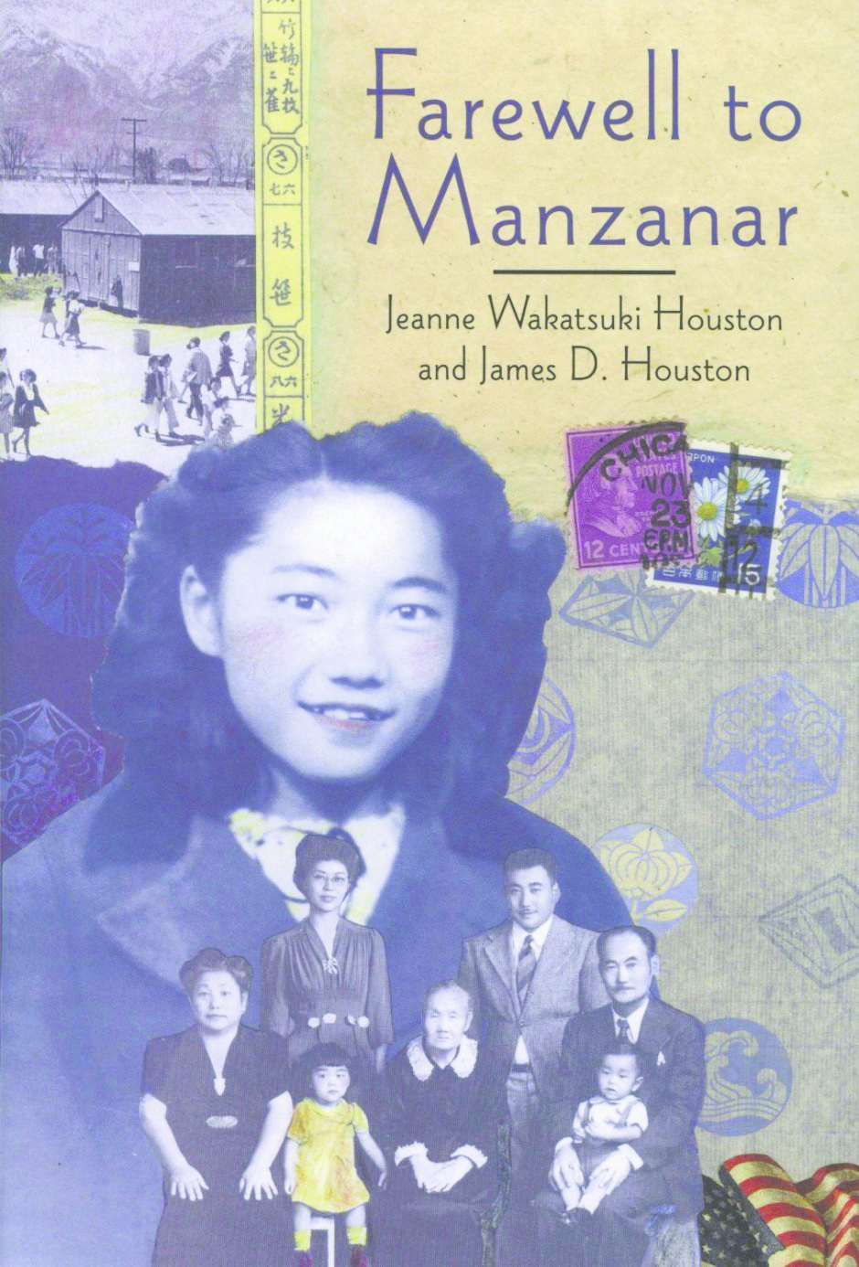"""The cover of Jeanne Wakatsuki Houston's 1973 book, """"Farewell to Manzanar,"""" written with her husband, James Houston. The Wakatsuki family is pictured on the book's cover along with the author."""