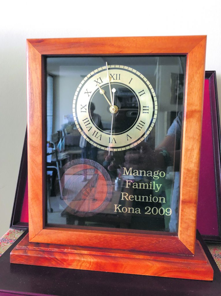 A keepsake from the 2009 Manago Family reunion which continues to beheld every other year.