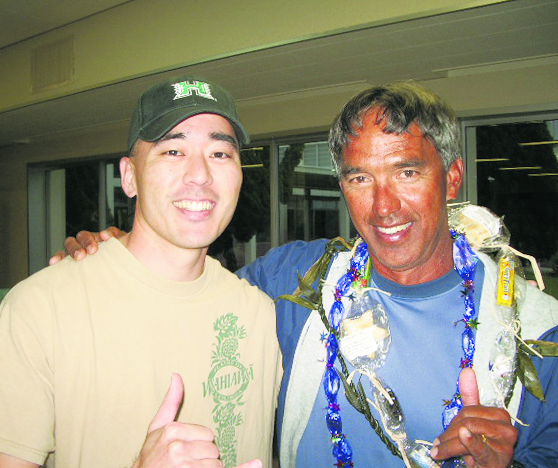 Colin Sewake with Hoküle'a navigator Nainoa Thompson in 2007. (Photos courtesy Colin Sewake)