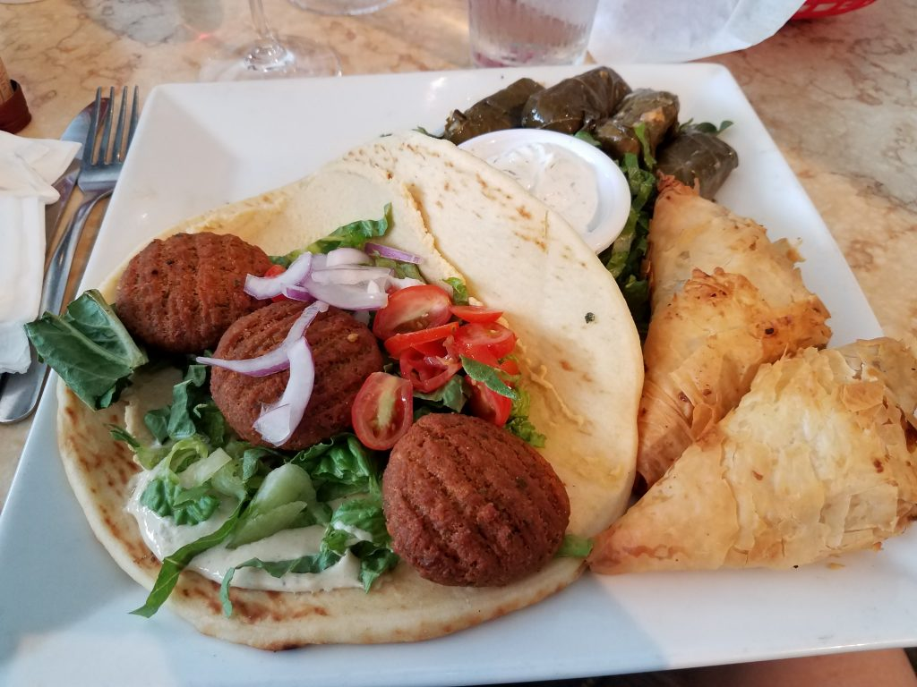 Falafel plate from Yamas Mediterranean Cuisine.
