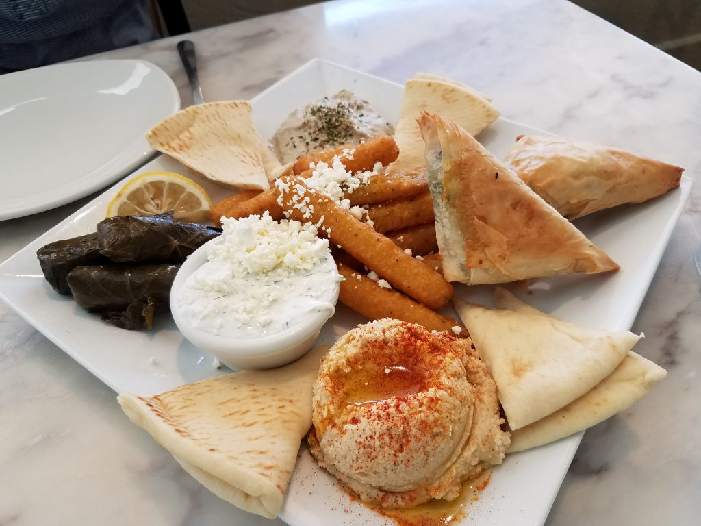 Mixed appetizer plate from Yamas Mediterranean Cuisine.