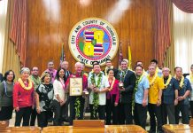 On Feb. 10, Mayor Caldwell, Hajime Nakama — the mayor of Kin Town in the Okinawa Prefecture of Japan — and about a hundred attendees met in the Honolulu City Council Chambers at Honolulu Hale for a friendship city relationship signing ceremony.