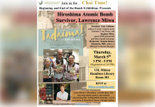 Flyer for 'Hiroshima Atomic Bomb Survivor, Lawrence Miwa' event on March 5th at UH Manoa Hamilton Library, room 301