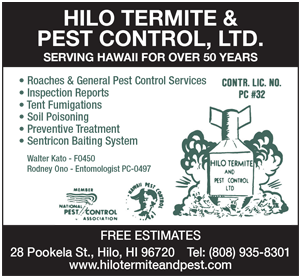 Ad for Hilo Termite & Pest Control, Ltd. 'Serving Hawaii for Over 50 Years'