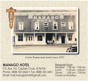 Ad for Manago Hotel 'A true Kama aina Hotel since 1917'