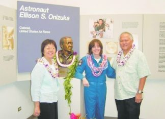 Art and Rene Kimura with teacher and backup astronaut Barbara Morgan next to the bust of Hawai'i astronaut Ellison Onizuka. (Photos courtesy Art and Rene Kimura)
