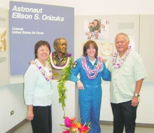 Art and Rene Kimura with teacher and backup astronaut Barbara Morgan next to the bust of Hawai'i astronaut Ellison Onizuka. (Photos courtesy Art and Rene Kimura)
