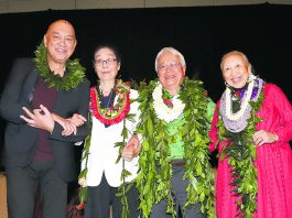 Honpa Hongwanji Mission of Hawaii's 2020 Living Treasures of Hawai'i honorees (from left): Robert Cazimero, Sachie Saigusa, Larry Kimura and Carolee Nishi. (Photo by Alan Kubota/Lenscapes)