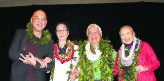Honpa Hongwanji Mission of Hawaii's 2020 Living Treasures of Hawai'i honorees (from left): Robert Cazimero, Sachie Saigusa, Larry Kimura and Carolee Nishi. (Photo by Alan Kubota/Lenscapes)