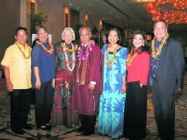 Dr. Jon Matsuoka (far left) with Living Treasures of Hawai'i Committee members (from left): JoAnn Yosemori, Cecilia Lindo, Bishop Eric Matsumoto, Cindy Alm, Jill Kuramoto and Jonathan Johnson. (Photo by Debbie Kubota)