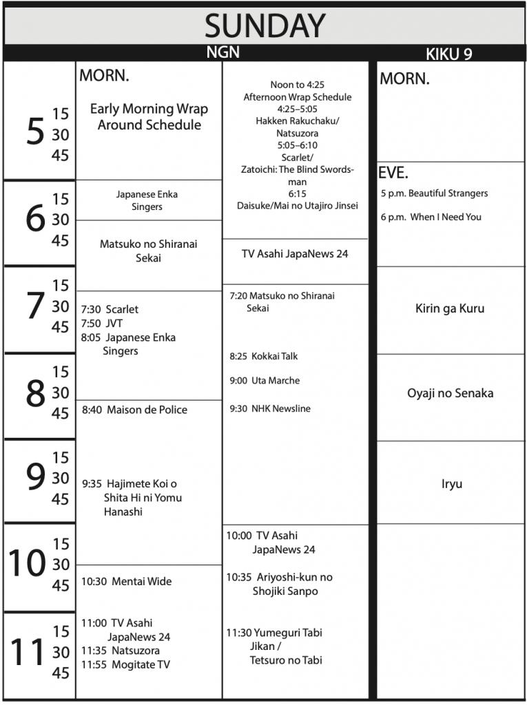 TV Program Schedule 3/20/20 Issue - Sunday