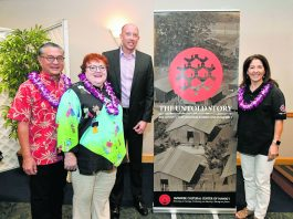 "Hawai'i's ""Day of Remembrance"" program featured speakers (from left) Bill Kaneko, Susan Arnett, Jacce Mikulanec and April Tahara Carvalho. (Photo by Wayne Shinbara)"