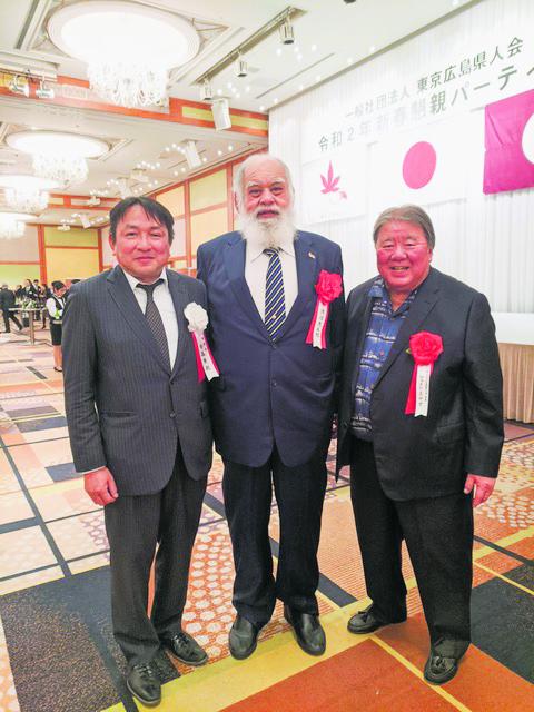 "Jesse ""Takamiyama"" Kuhaulua, sporting a snowy-white beard, was invited to the celebration. He is pictured here with Takaya Kanamori, secretary-general of THKPA (left) and HHKK president Wayne Miyao."