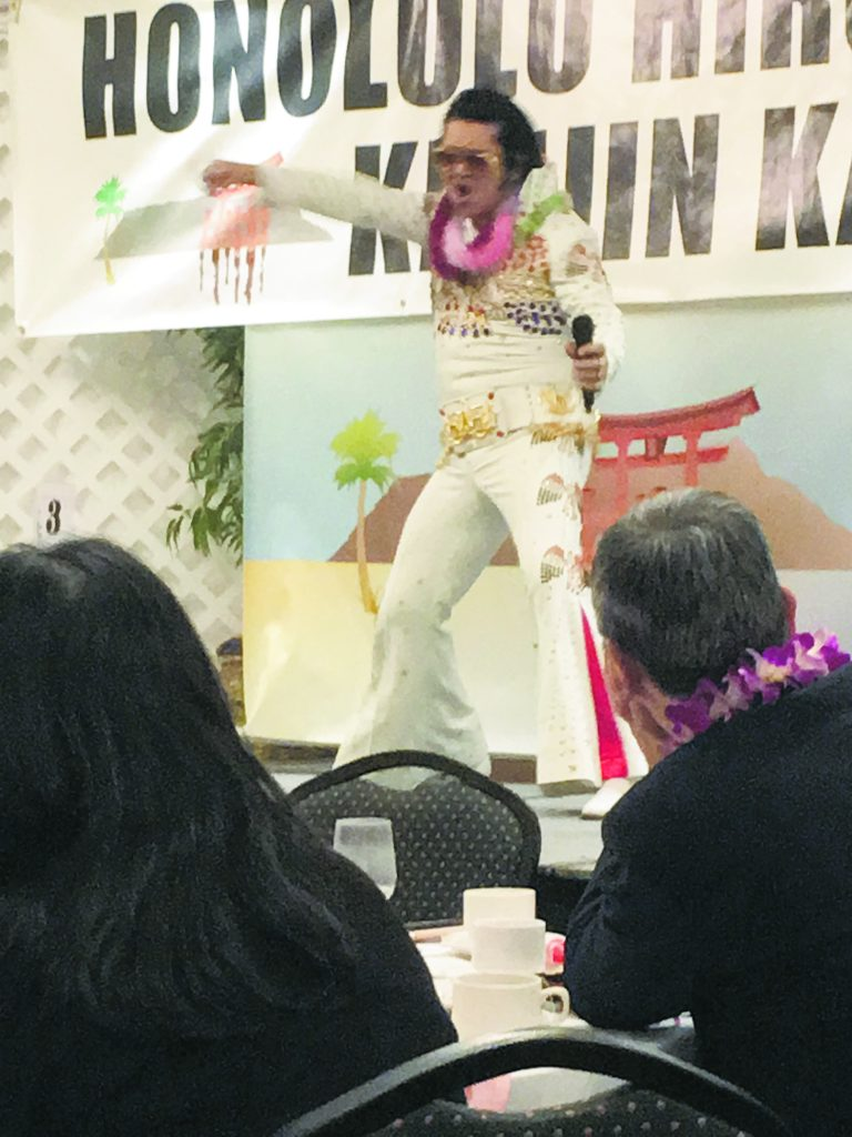 """Toki """"Elvis"""" Toyokazu swivels his hips, much to the delight of the HHKK audience."""