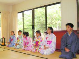 Students greet their sensei at beginning of class. From left: Ai vanDeventer, Aya Okimoto, Yuu vanDeventer, Jamelyn Tomori, Cora Saito, and Kenjiro Otake.
