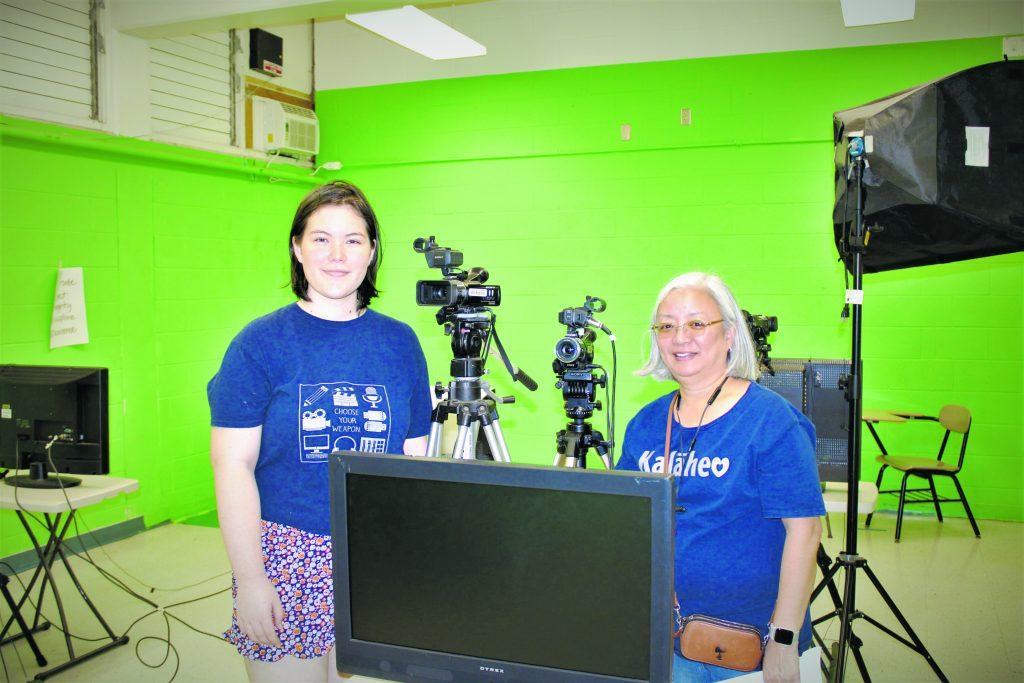 Emily and Kathy Shigemura in the film studio.
