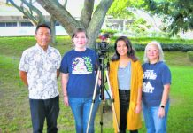 Hiroaki Hara (left), originally from Okinawa and now studying at the University of Hawai'i, shared his perspective with Emily and Kehaulani. They are students of Kathy Shigemura (right) who teaches media at Kalaheo High School. (Photos by Dan Nakasone)