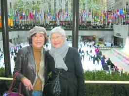"Sets Yoshida (right) and former ""Dear Frances"" columnist Frances Kakugawa holoholo'ing at Rockefeller Center in New York City in November 2011. (Photo courtesy Frances Kakugawa)"