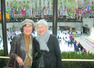 "Sets Yoshida (right) and former ""Dear Frances"" columnist Frances Kakugawa holoholo'ing at Rockefeller Center in New York City in November 2011. (Photo courtesy Frances Kakugawa)"