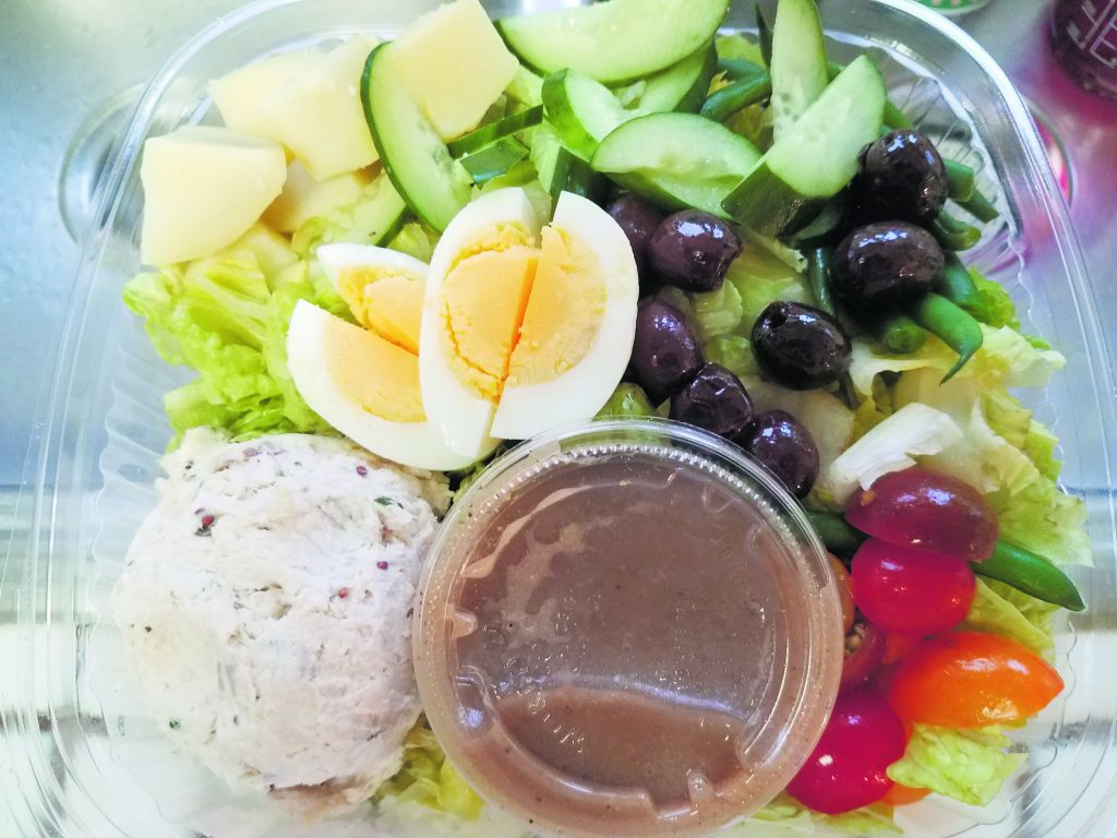 Ono nicoise salad – ono fish, egg, tomatoes, cucumbers, green beans, fingerling potatoes, olive and an anchovy-sherry vinaigrette.